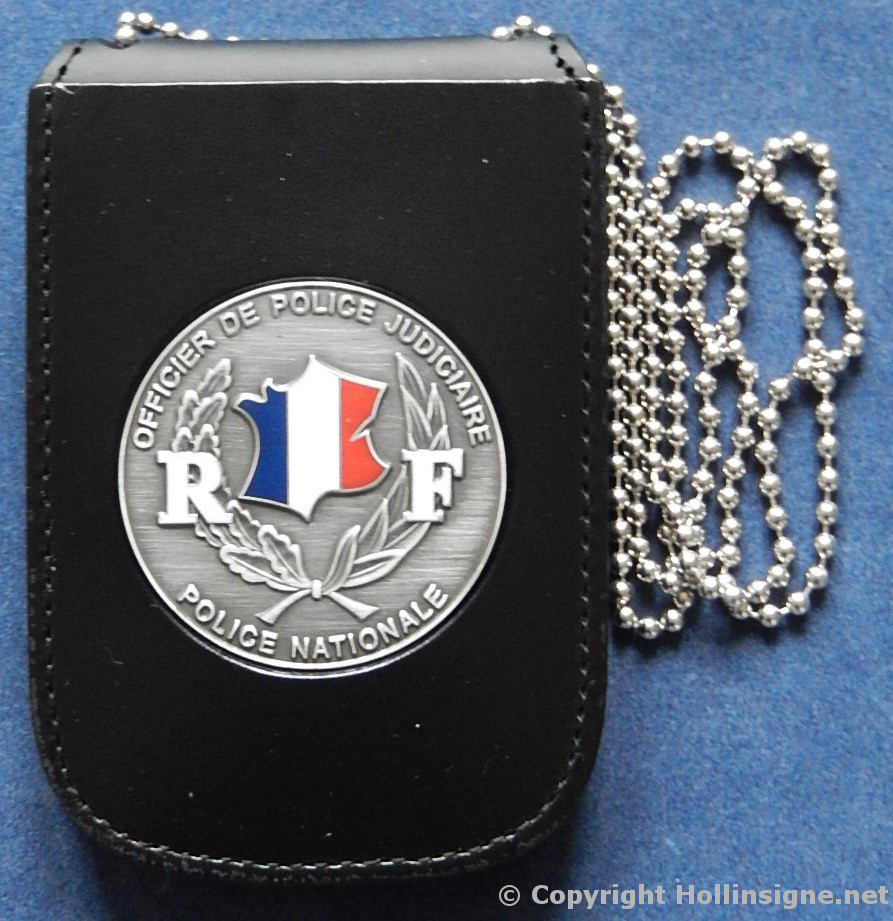 porte carte police tour de cou 3 id avec insigne opj